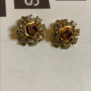 Vintage  Weiss Rose and Clear Rhinestone earrings